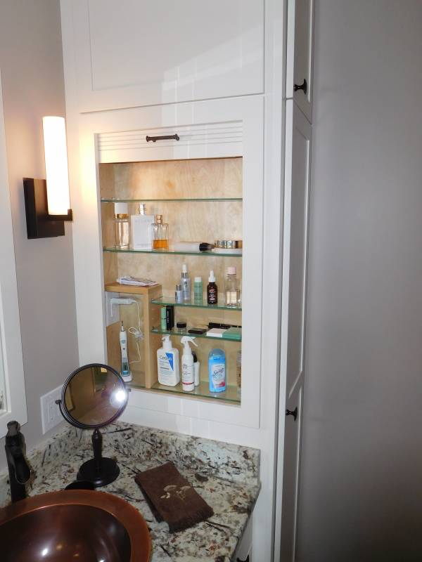 Asheville Bathroom Built in medicine cabinet with tambour door